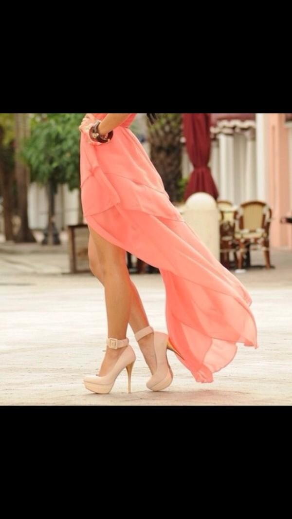 shoes nude heels high heels nude high heels dress pink dress maxi dress
