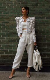 jacket,all white everything,rocky barnes,blogger,blogger style,instagram,pants