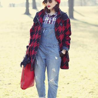 scarf bag shoes sunglasses shirt hat socks blogger red bag gloves pom pom beanie keiko lynn houndstooth denim overalls scarf red