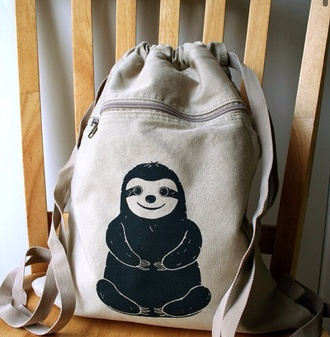 bag tan sloth cute backpack printed backpack