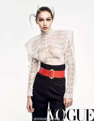 blouse lace lace top pants gigi hadid model editorial vogue
