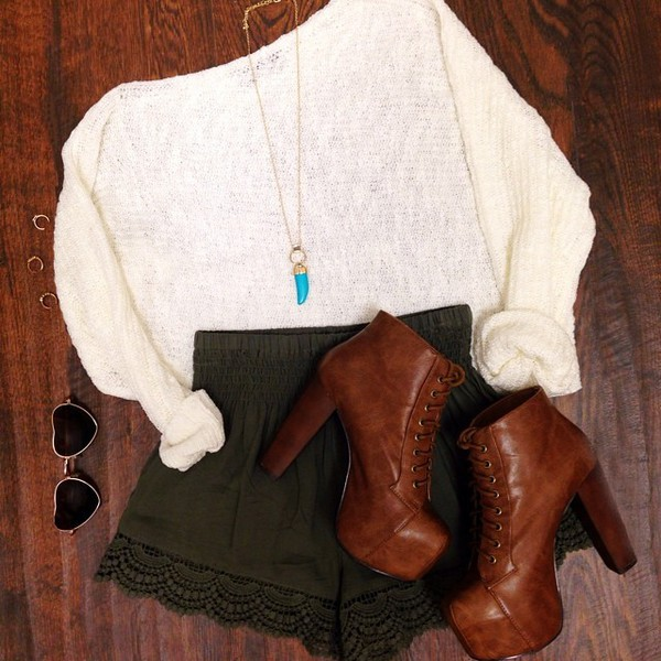 shoes heels thick heel jewels brown oversized sweater beige forest green