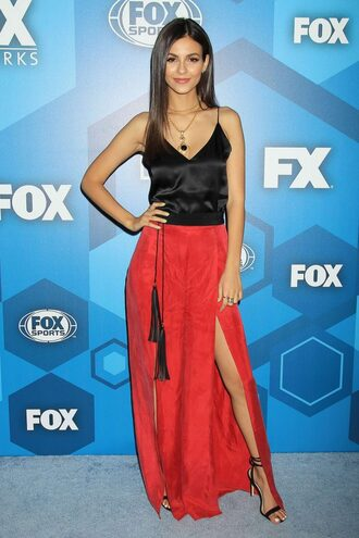 dress skirt maxi dress maxi skirt slit dress sandals red victoria justice top shoes