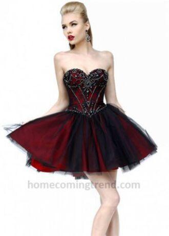 dress goth punk prom prom dress prom gown high heels rhinestones tumblr red black pretty