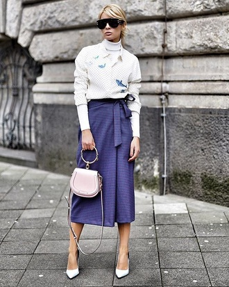 skirt midi skirt purple skirt sunglasses top shirt white shirt pumps bag turtleneck polka dots handbag