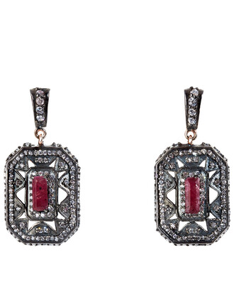 earrings silver red jewels