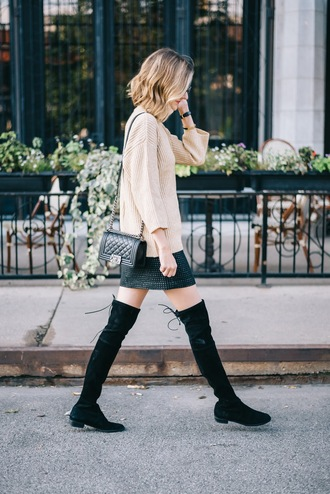 see jane blogger fall outfits suede boots black boots knee high boots