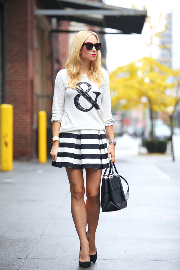 brooklyn blonde sweater skirt bag shoes sunglasses