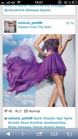dress prom dress violet glitzer beauty nice
