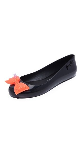 space love flats black orange shoes