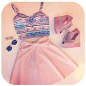 skirt,pink skirt,bow,pink bow,shoes,top,sunglasses,pattern,blue,green,yellow,pink,purple