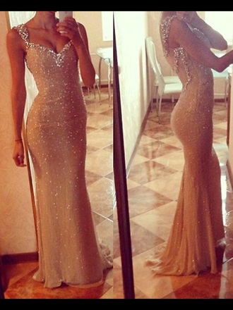 dress prom dress gold dress gold sequins silver straps beautiful dresses
