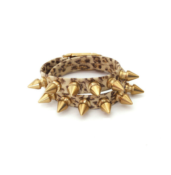 spikes jewels leopard wrap bracelet gold spikes leopard print