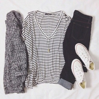 blouse stripes shirt strips v neck black and white blouse cardigan jeans shoes jewels
