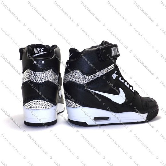 shoes wedge black swarovski nike nike revolution nike sky hi girls girly fashion hidden wedge swaggi