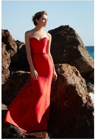 dress strapless bustier red dress gown olivia culpo long prom dress mermaid prom dress
