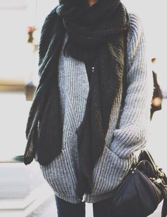 oversized sweater fall outfits scarf bag