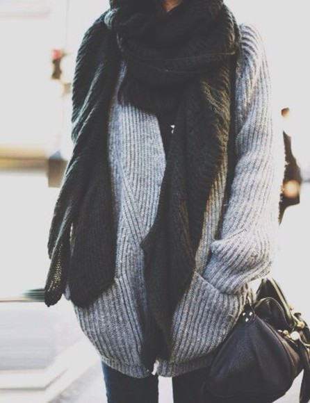 scarf fall outfits oversized sweater