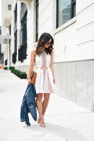 dress tumblr summer dress summer outfits mini dress halter dress jacket denim jacket sandals mid heel sandals clutch bag shoes