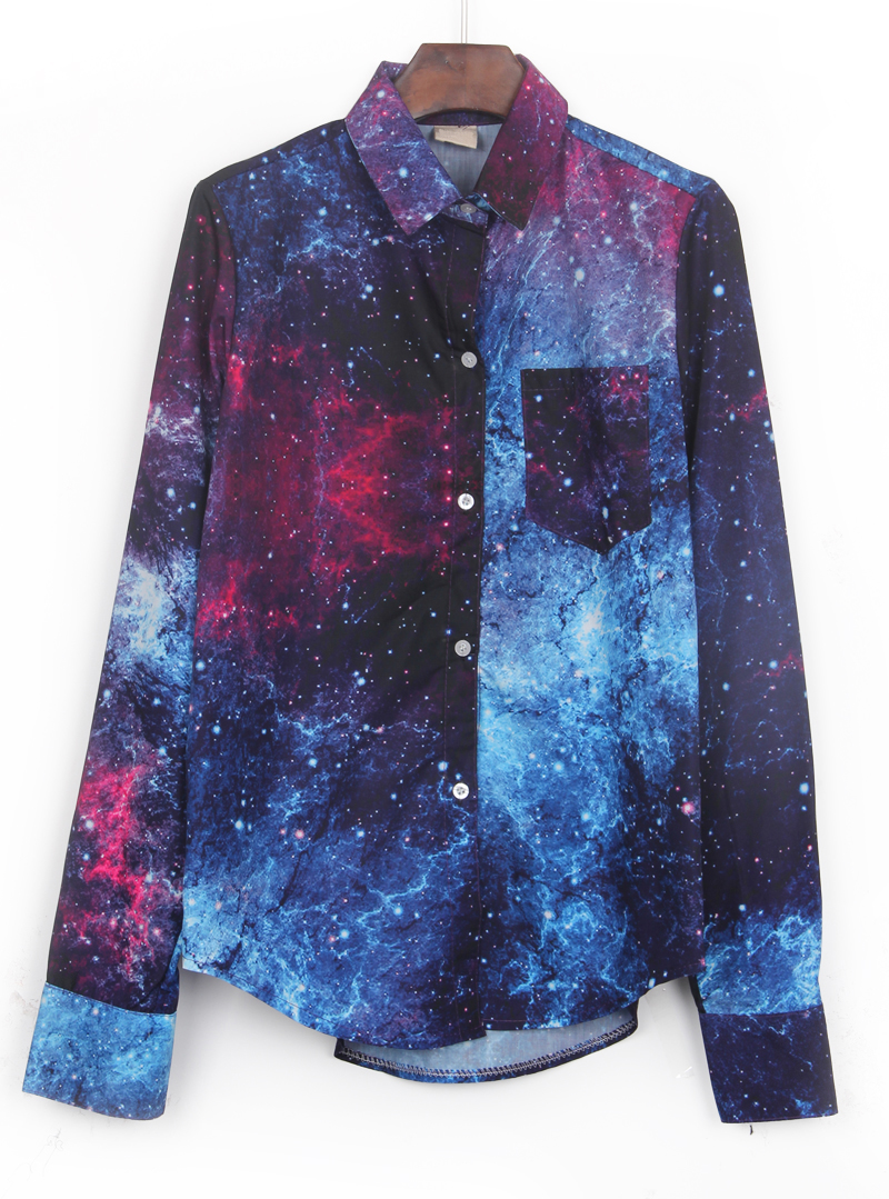 Navy Wing Collar Galaxy Print Curved Hem Blouse - Sheinside.com