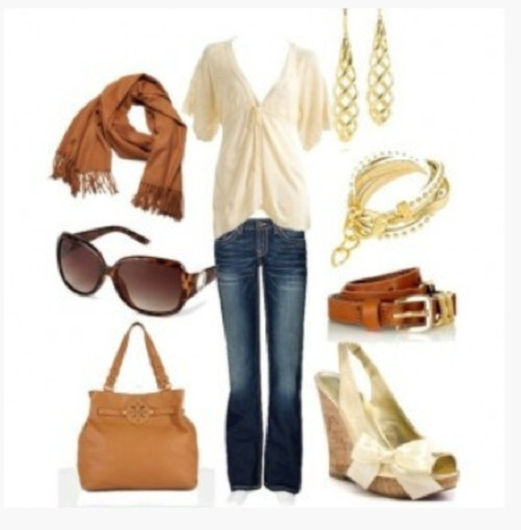 top cream ivory blouse sunglasses shoes clothes outfit shirt empire waist short sleeves ruched gathered v neck deep v neck pants jeans scarf earrings twisted earrings bracelet belt high heels wedges slingback wedges peep toe peep toe sling back wedges bag purse