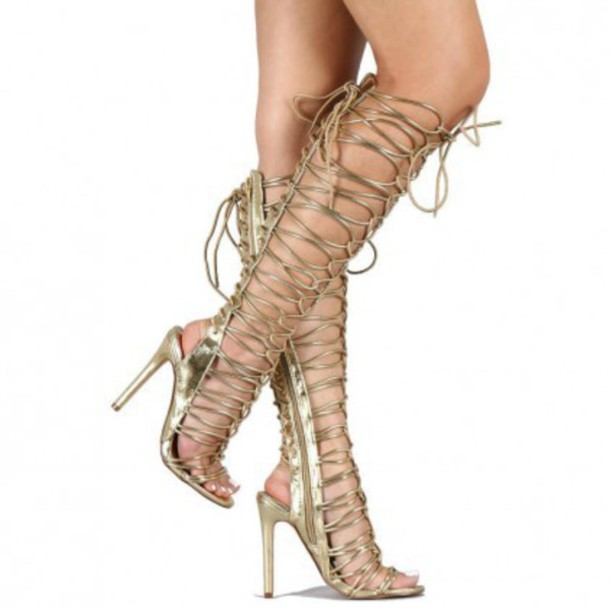 Knee High Strappy Gladiator Heels