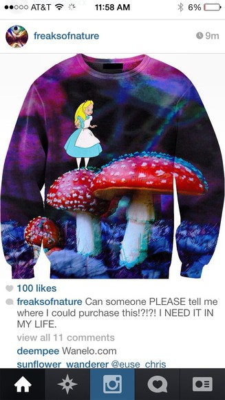 alice in wonderland sweater mushrooms