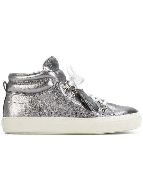 high tassel women sneakers leather grey metallic shoes