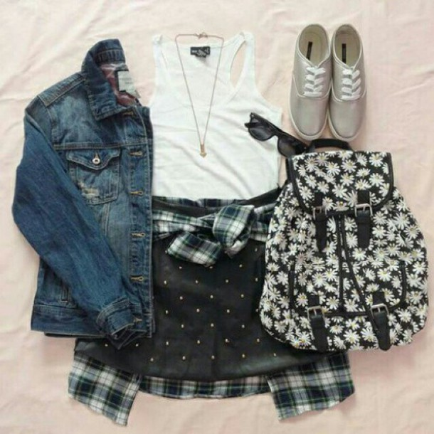 bag jeans jacket top shoes sunglassen shorts necklace skirt blouse jewels