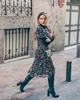 dress tumblr midi dress floral floral dress turtleneck black turtleneck top boots black boots