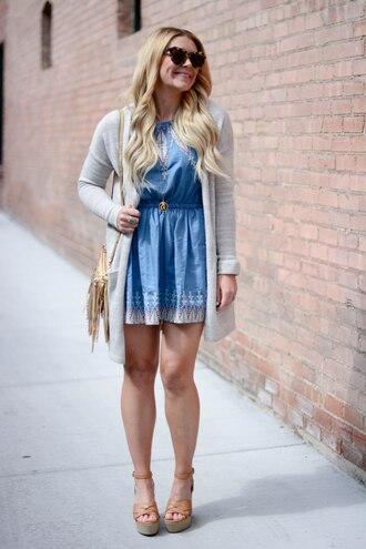 all dolled up blogger cardigan jewels bag sunglasses shoes blue dress denim dress grey jacket mini dress wedges