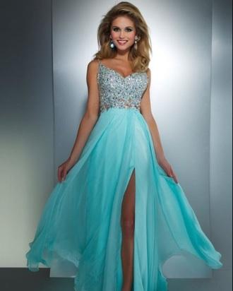 dress prom dress teal dress