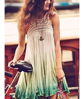 cream summer dress spring beige turquoise tunic boho sleeveless lime embroidered green