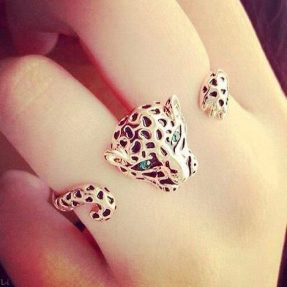 fashion jeans green ring gold vintage leopard diamond