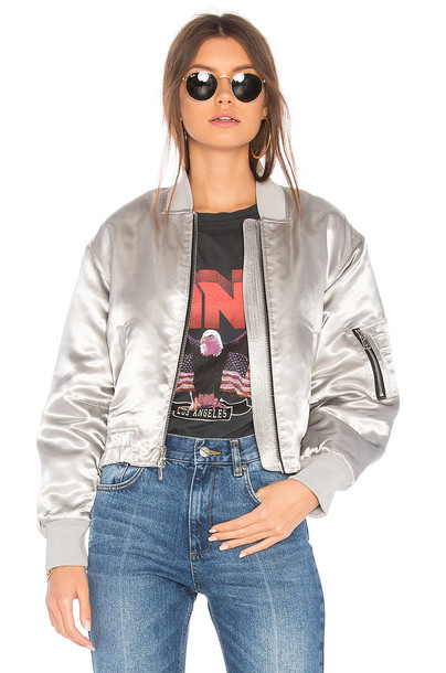 Elizabeth and James jacket bomber jacket metallic silver