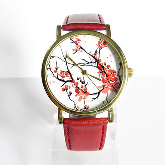jewels watch handmade style fashion vintage etsy freeforme floral cherry blossoms blossom