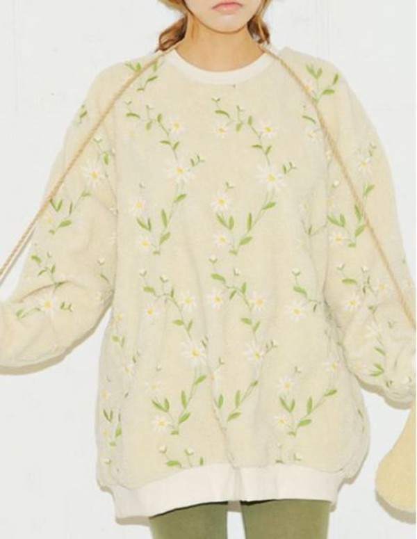 top sweatshirt apricot fluffy sweatshirt daisy embroidered sweatshirt www.ustrendy.com