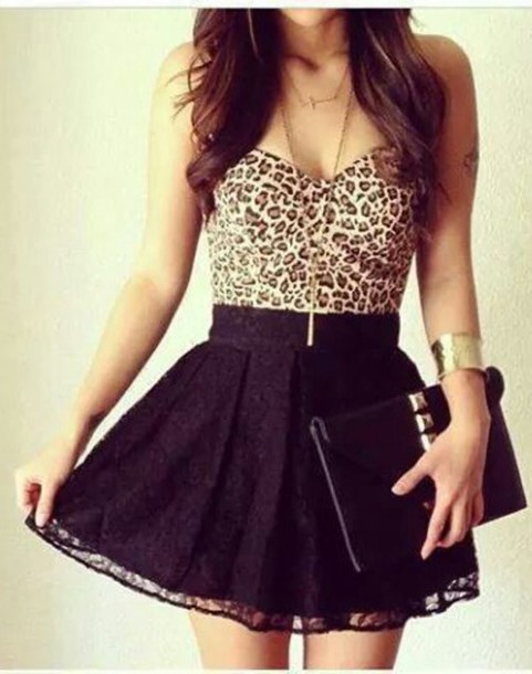 skirt leopard print dress party bustier top