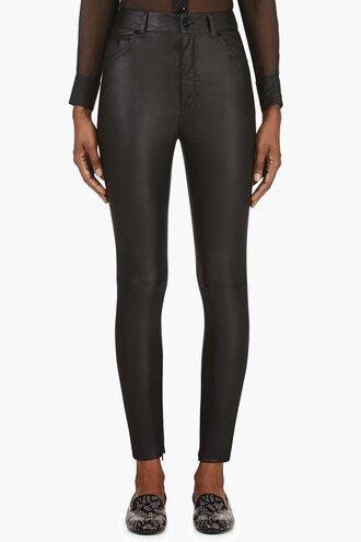 waist black high leather pants clothes women skinny pants