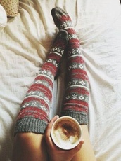 pants,underwear,socks,cute,cold,winter outfits,cozy,shoes,knee high socks,winter socks,hipster,coffee,warm,fall outfits,christmas socks,snow,christmas,snowflake,red and grey