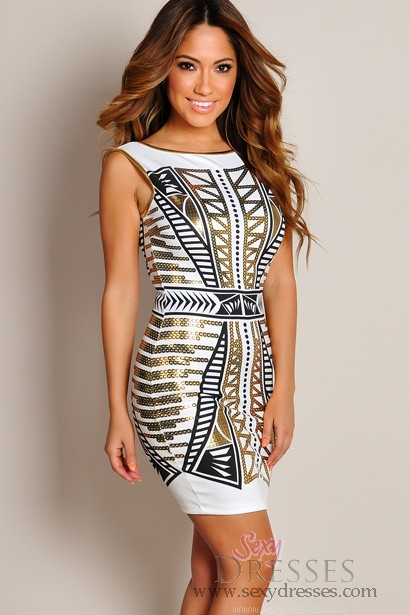 Sexy gold combo backless chain link print dress