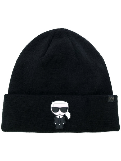 karl lagerfeld women beanie black hat