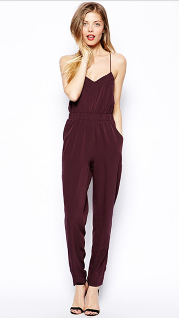 jumpsuit aliexpress wine red
