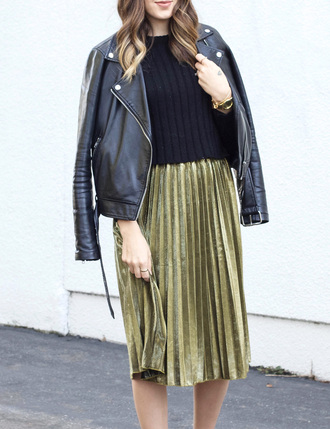 skirt tumblr velvet velvet skirt pleated pleated skirt sweater black sweater jacket black jacket black leather jacket leather jacket