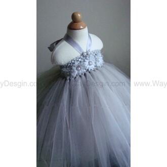 grey dress flower girl dress