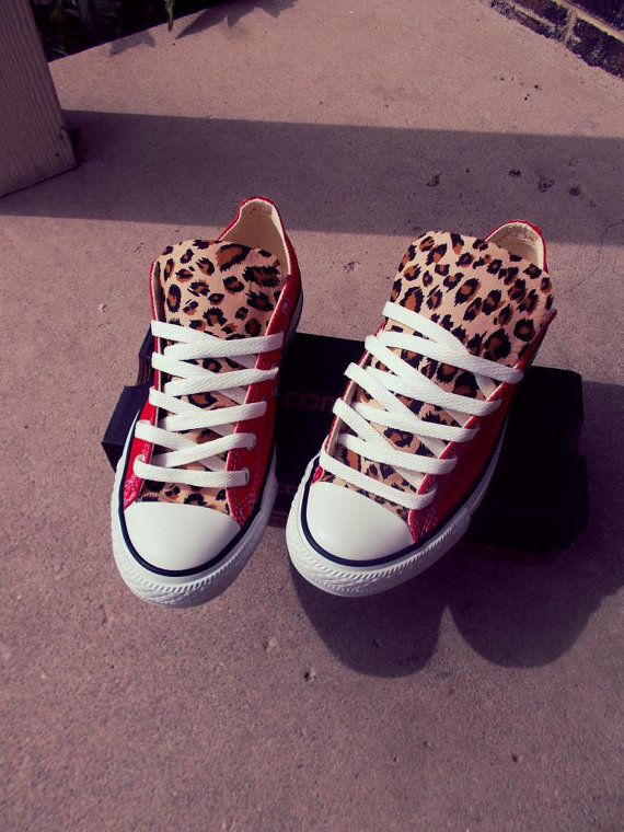 Leopard print converse by chaoticmayhem on etsy