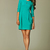 Seam Sky Blue Dress with Wide Pleated Skirt