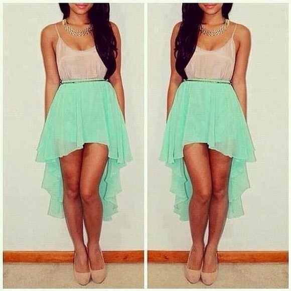 skirt asymetric skirt white crop tops summer outfits chiffon skirt mid skirt green high heels