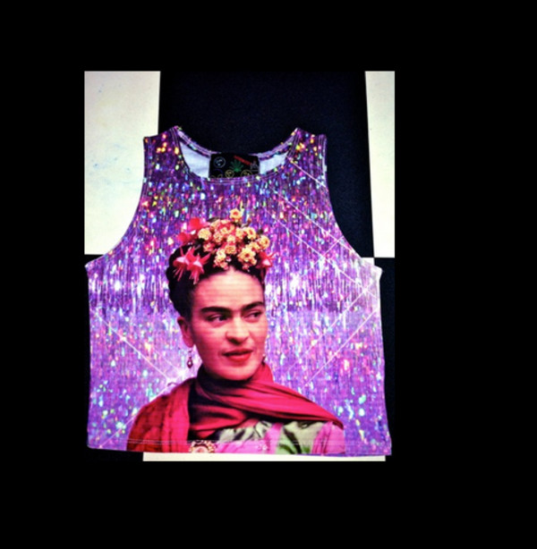 frida kahlo frida holographic sparkle sparkle seapunk colorful crop tops