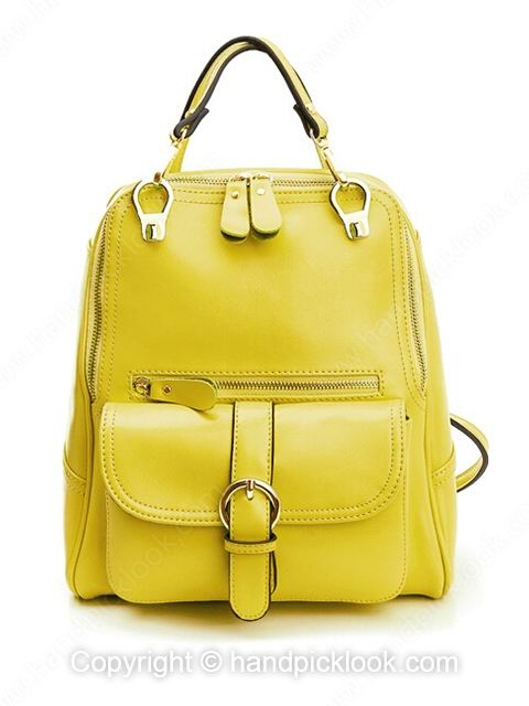 Yellow Fashion Leather Pockets Zipper Backpack - HandpickLook.com